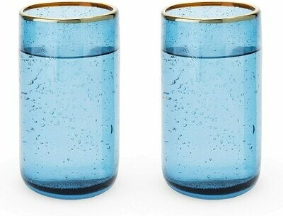 16 Ounce Glass Tumbler Set, Deep Blue Bubble -Twine