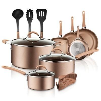 14 Piece Kitchenware Pots and Pans Set - NutriChef