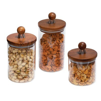 3-Piece Acacia-Top Glass Kitchen Canister Set - Honey-Can-Do