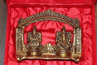 Laxmi Ganesha with temple Frame