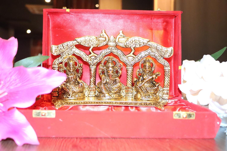 Gold Laxmi Ganesha and Saraswati