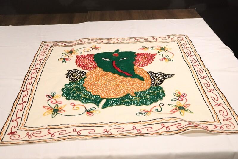 Rajasthani Silk Cloth Ganesha Painting