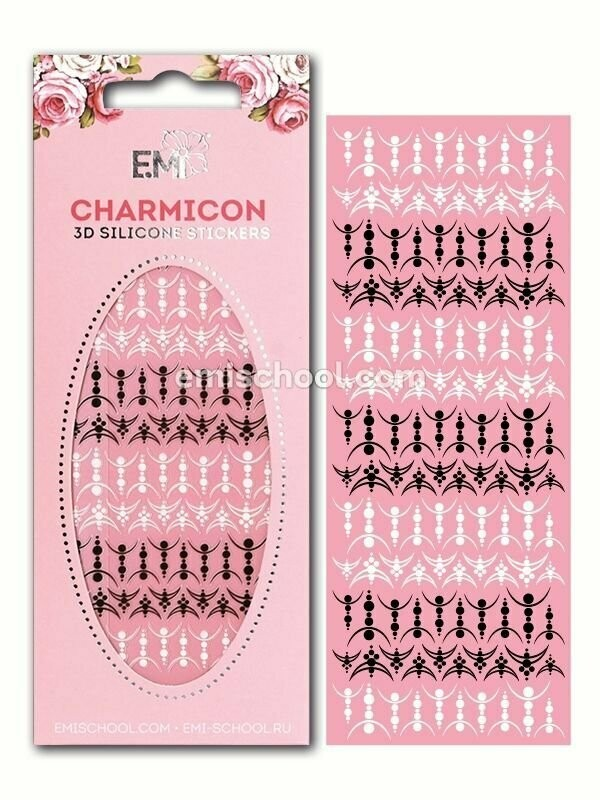 Charmicon 3D Silicone Stickers Lunula #28 Black/White