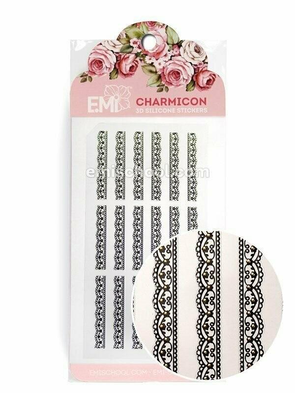 Charmicon 3D Silicone Stickers Ornament Black #1