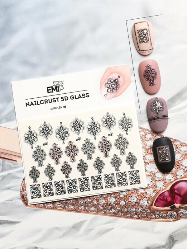Naklejki wodne NAILCRUST 5D GLASS Jewelry #1