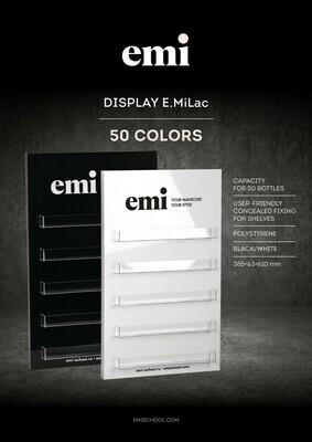 Półka na lakiery do paznokci E.MiLac 50 kolorów, czarny/biały