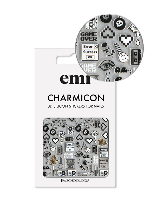 Naklejki silikonowe Charmicon 3D Silicone Stickers #188 Game Over