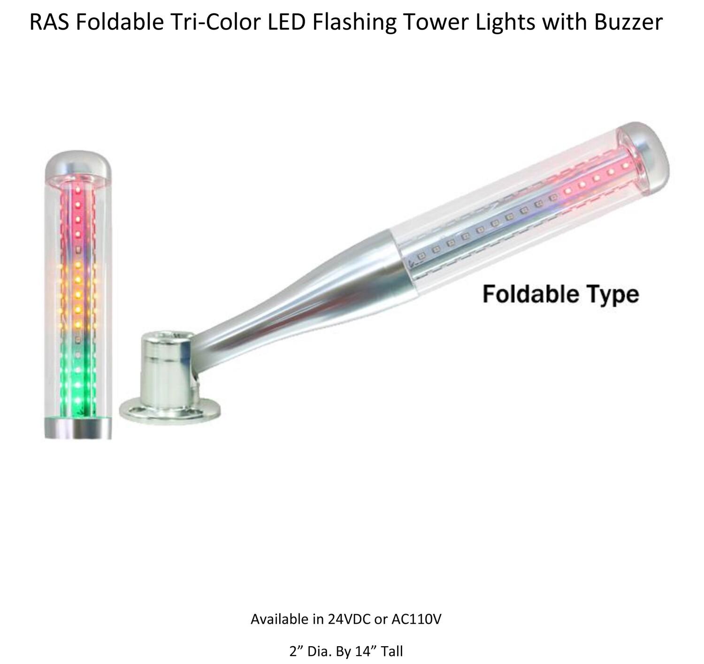 RAS Foldable Tri- Color LED Tower Light with Buzzer - DC24V