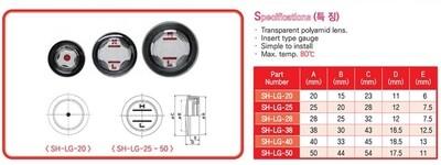 SH-LG-50 - 50mm Push-Fit Plastic Fluid Sight Glass