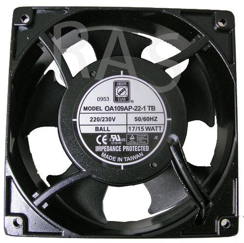 Orion Fan Part # : OA109AP-22-1TB Voltage: 220 VAC Size : 120mm x 120mm x 38mm