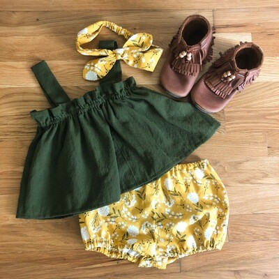 Toddler Apron Top & Bloomer - Forest Green