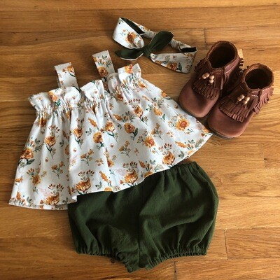 Toddler Apron Top & Bloomer - Rust Floral