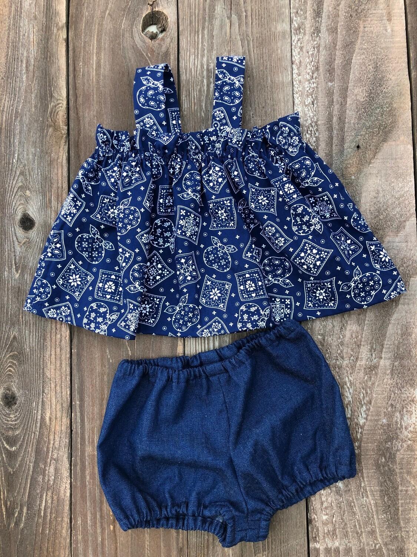 Toddler Apron Top & Bloomer - Blue Bandana