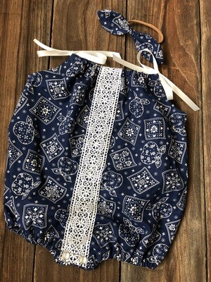 Shoulder Tie Romper - Blue Bandana