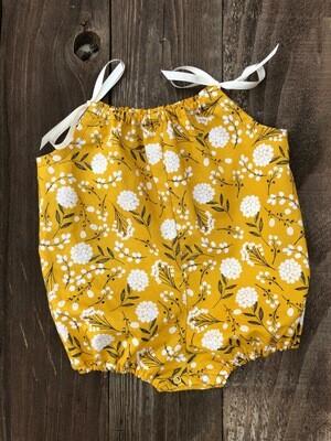 Shoulder Tie Romper - Mustard Floral