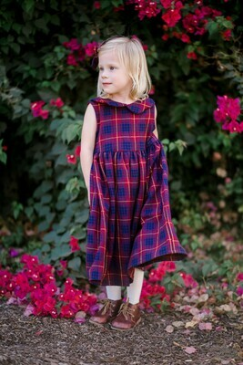 Claire Dress in Red Violet, Navy Plaid