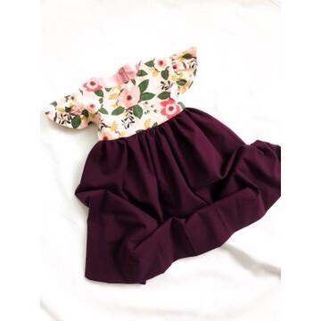 Flutter Sleeve Baby Dress- Red-Violet
