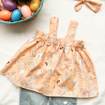 Toddler Apron Top - Peter Cottontail Peach