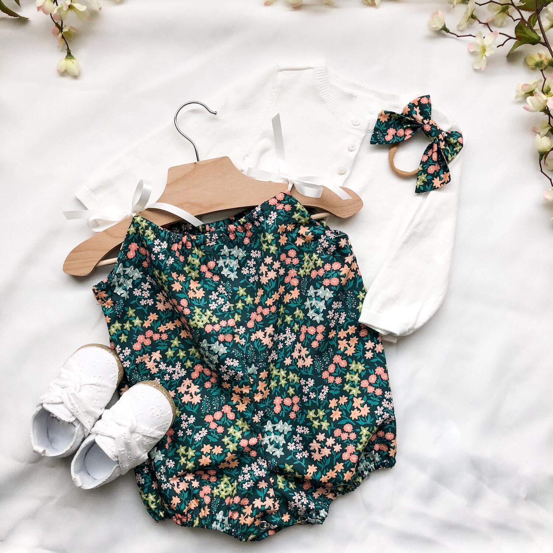 Shoulder Tie Romper - Mini Green Floral