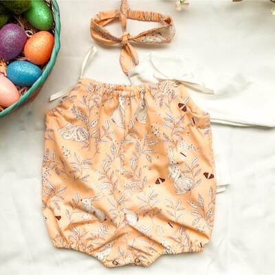 Shoulder Tie Romper - Peter Cottontail Peach