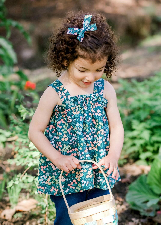 Toddler Apron Top - Mini Green Floral