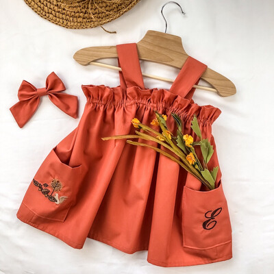 Toddler Apron Top - (Personalize) Terracotta Embroidery