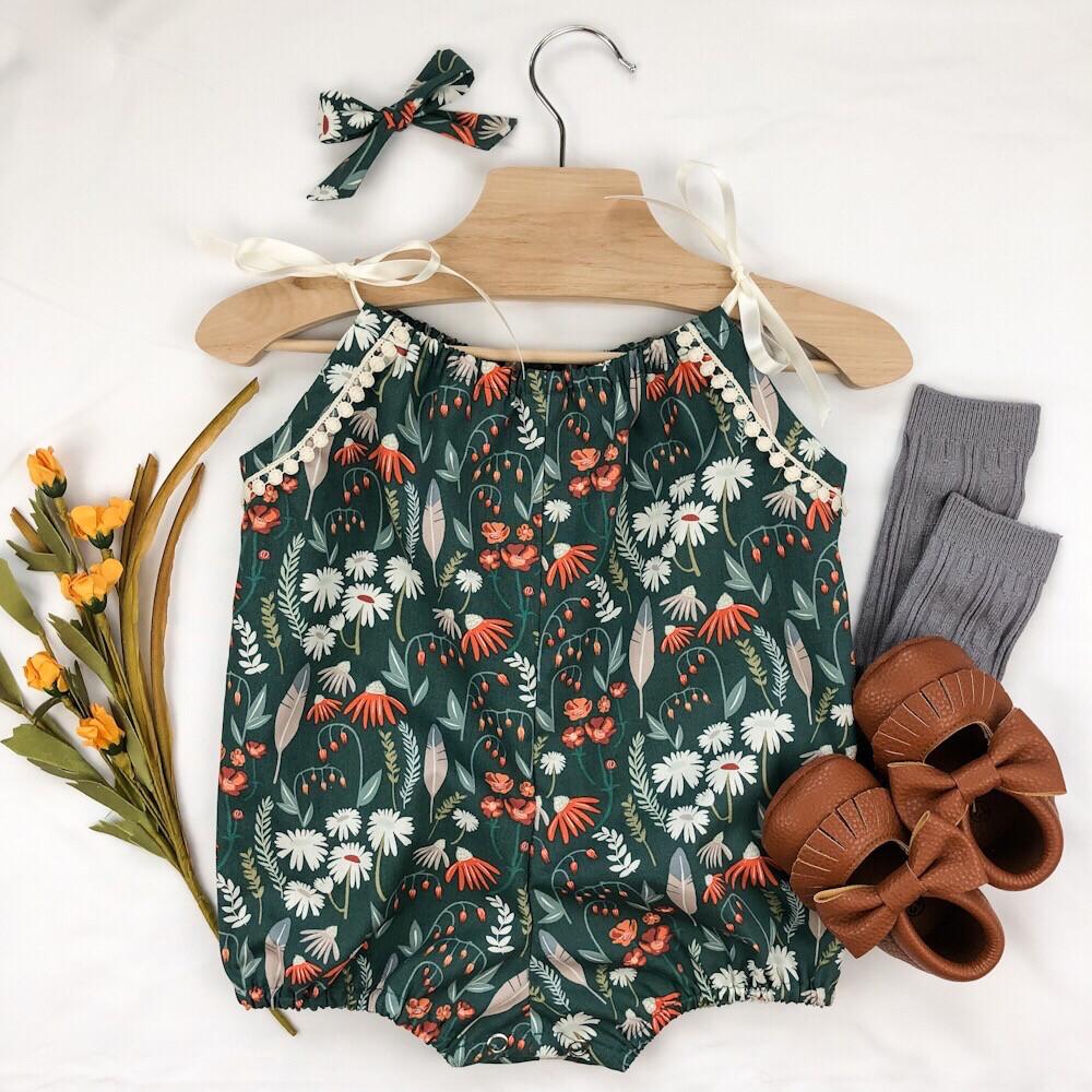 Shoulder Tie Romper - Feather N Floral