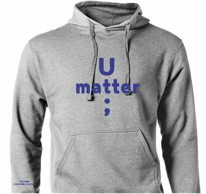 U Matter Always Hoodie with Blue lettering