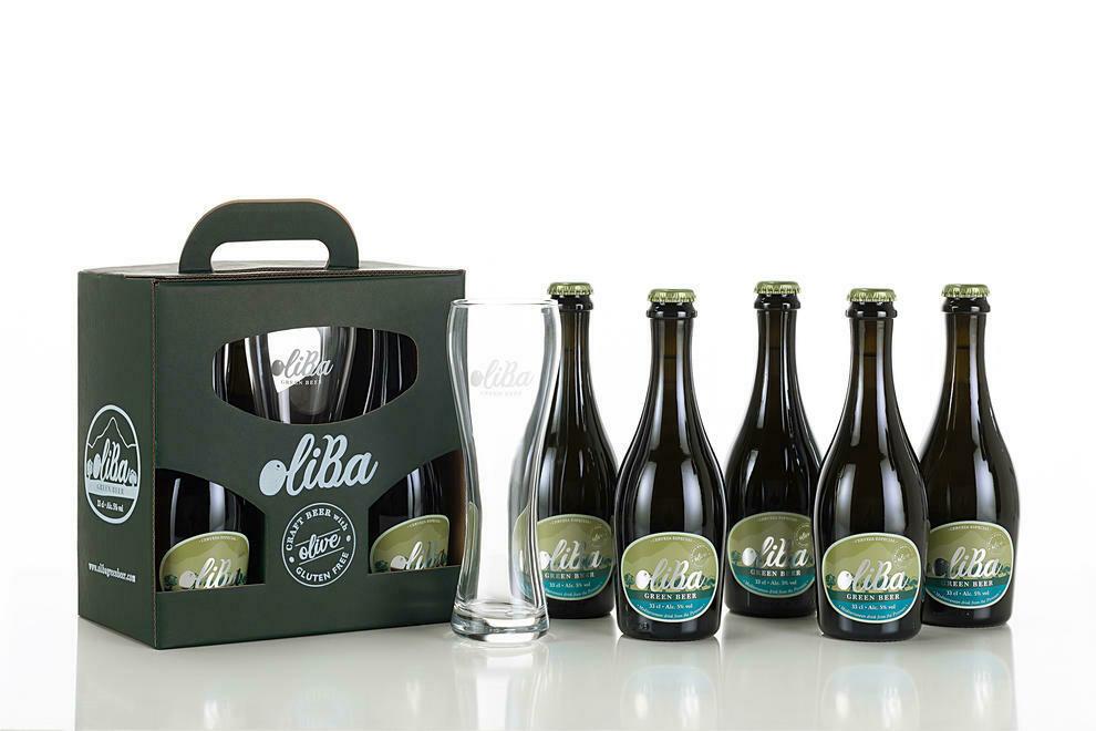 Oliba Cerveza artesana verde de olivas 5 unidades + vaso