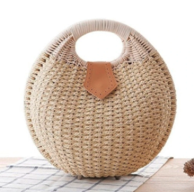 Top Handle Wicker Handbag in Round Shape