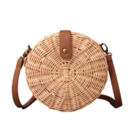 Wicker Straw Round Shoulder Bag