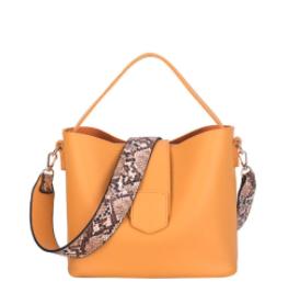 Womens Vegan Leather Bucket Bag With Wide Shoulder Strap