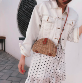 Oval Straw Crossbody Bag