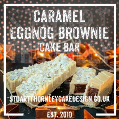 Caramel Eggnog Brownie Cake Bar