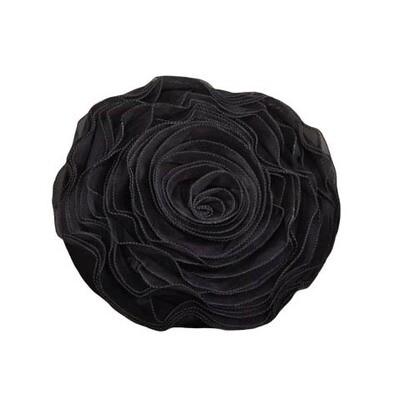 Black Rose Button Pillow