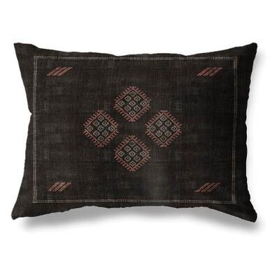 Black & Pink Boho Lumbar Pillow