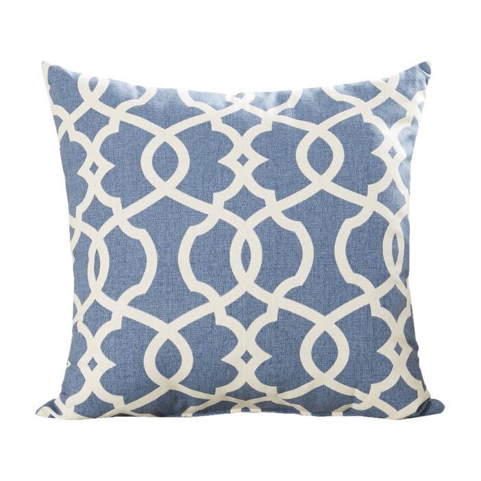 Blue & White Print Pillow