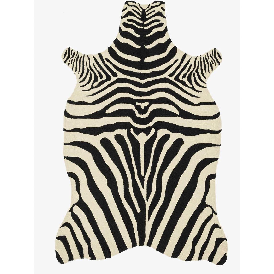 Black Zebra Woven Rug