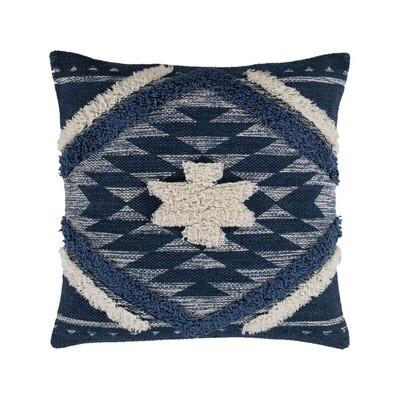 Blue Boho Print Pillow