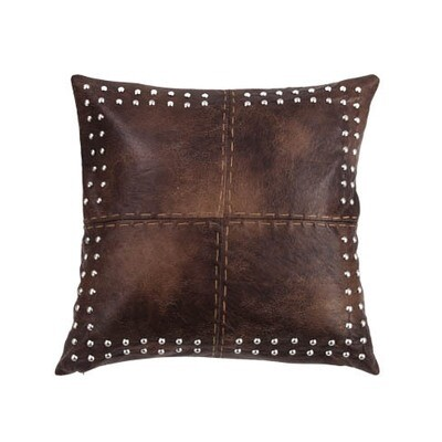 Brown Leather Studded Pillow