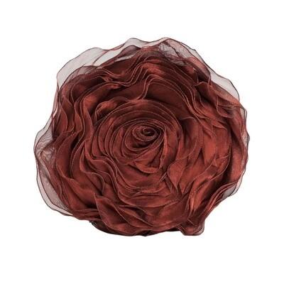 Burgundy Rose Button Pillow