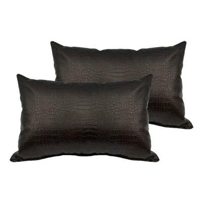 Dark Brown Alligator Print Lumbar Pillow