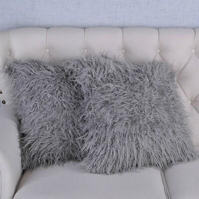 Gray Shag Pillow