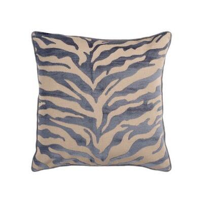 Gray Velvet Zebra Print Pillow