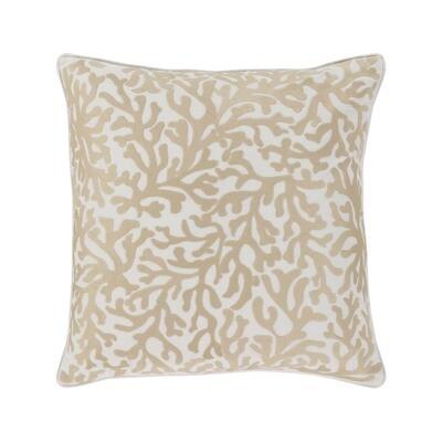 Khaki Coral Print Pillow