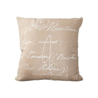 Natural French Text Pillow