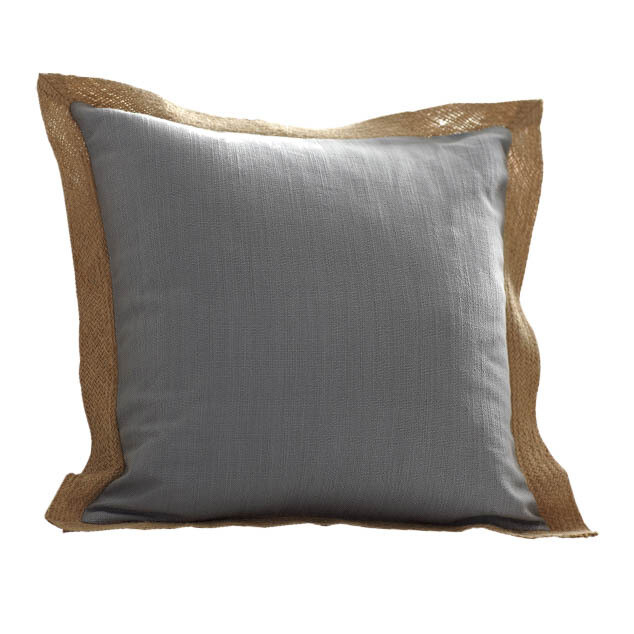 Pewter Pillow With Burlap Trim
