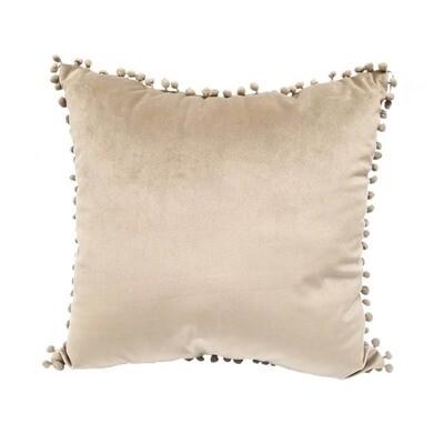 Taupe Pillow With Pom Pom Trim