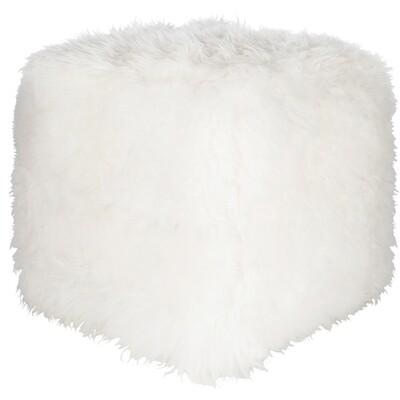 White Shag Pouf