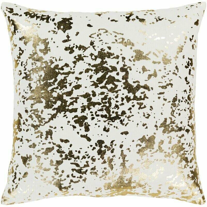 Gold + White Metallic Throw Pillow
